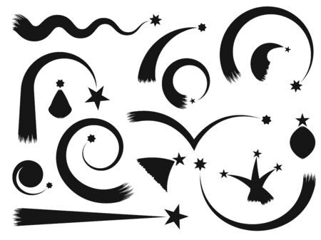 Shooting star with a tail set. Arches, curves, round and wavy comets. Black silhouette isolated on white background. Vector illustration.