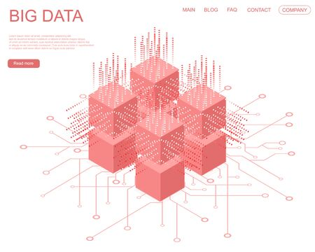 Digital Technology artificial intelligence Web Banner. Big data Machine Learning Algorithms. Abstract banner analysis of Information. Isometric view. Red cube on white background. Vector illustration