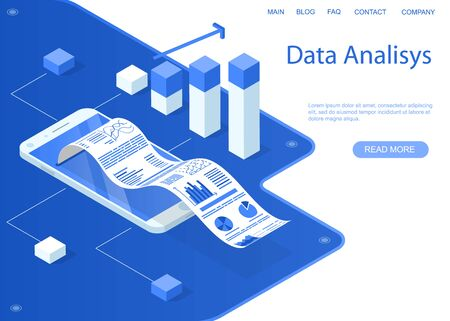 Business data analysis online. Business statistics and documents in smartphone. Monochrome blue web banner. Vector illustration.