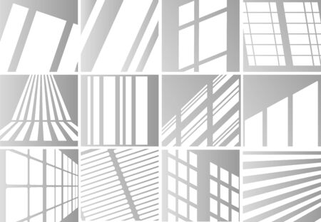 Big set of the overlay shadow effects. Shadow and light from the window. Reflection of light on the wall. Transparent shades for your design. Vector illustration. Stock Illustratie