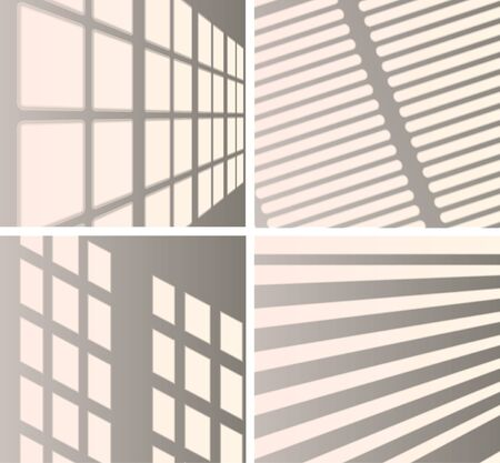 Set the overlay shadow effects. Shadow and light from the window. Reflection of light on the wall. Transparent shades for your design. Vector illustration. Stock Illustratie