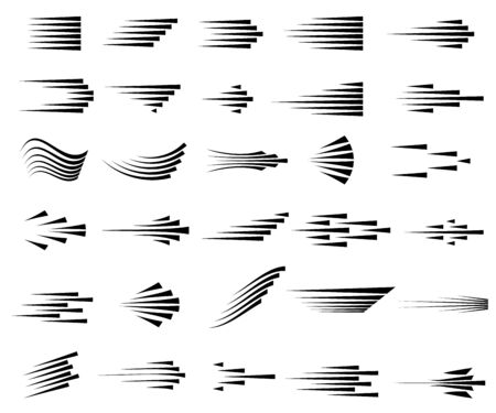 Speed lines icons. Set of fast motion symbols. Black lines on white background. Simple striped effects. Vector illustration.