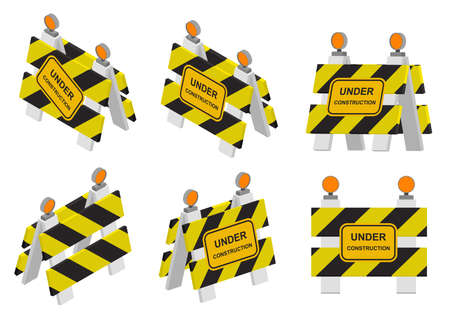 Road sign under construction. Warning sign in isometry, 3D and perspective views. Flat isometric design. Set of barriers. Vector illustration.