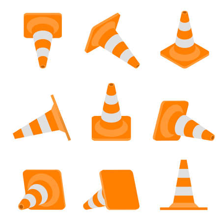Set of road cones. Isometric, front, side views. Warning sign in flat style. Caution road under construction. Vector illustration.