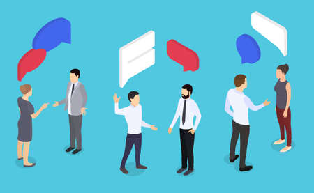 Businessman and businesswoman dialogues. Speech bubbles in isometric view. Man and woman conversation. Business meeting. People chat vector illustration.