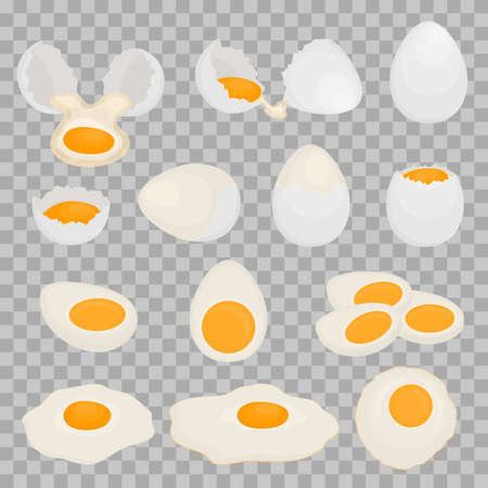 Set of boiled, raw and fried chicken eggs. Scrambled eggs for Breakfast. Brown shell. Healthy food. White egg on transparent background. Vector illustration