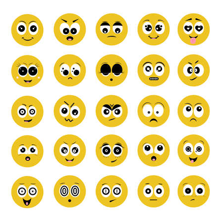 Cartoon eyes and mouths. Set of Emotions on the yellow face. Smile characters vector illustration.