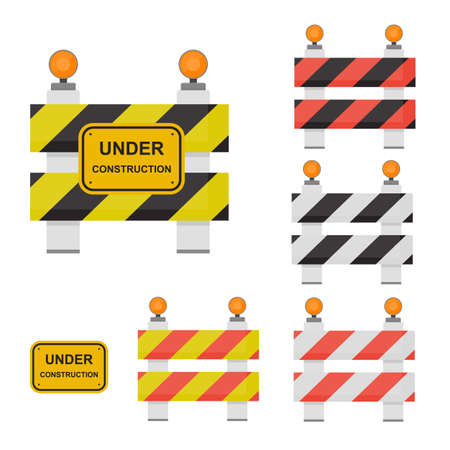 Road sign under construction. Warning sign in front views. Flat design in different colors. Set of barriers. Vector illustration.