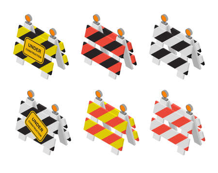 Road sign under construction. Warning sign in isometry, 3D and perspective views. Flat isometric design. Set of barriers. Different colors. Vector illustration.