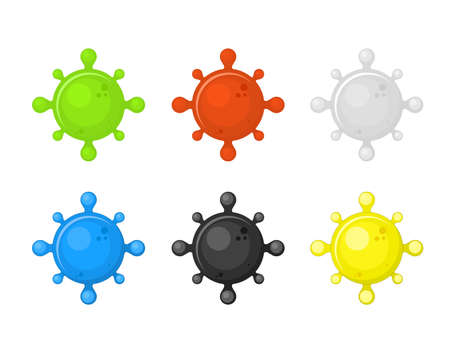 Set of viruses. Black infection flat design. A poisonous green viral character. Multicolored microorganisms covid. Vector illustration