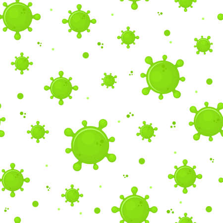 Virus seamless pattern. Infection flat design. Toxic green virus. dangerous microorganisms. Vector illustration Ilustrace