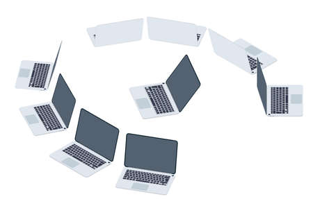 Set of laptops in isometric. View from different sides. Gadget with empty dark screen. Gray modern portable computer in 3D. Equipment for business, work and study. Vector illustration.