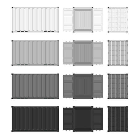 Set of steel containers for transportation. Flat style cargo containers. White, gray, and black box. Vector illustration.