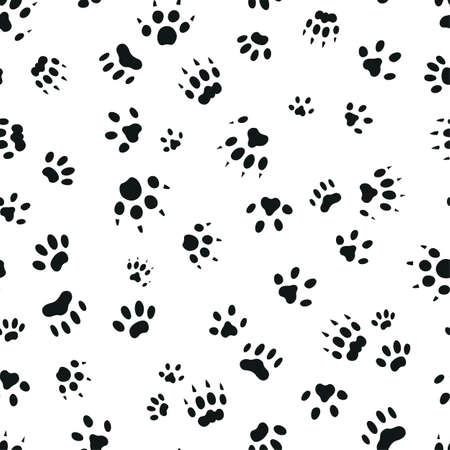 Cat paw trace seamless pattern. Set of different black paw prints. Vector illustration.