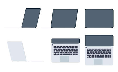 Set of laptops in flat style. View from different sides. Gadget with empty dark screen. Gray modern portable computer. Equipment for business, work and study. Vector illustration. Ilustrace
