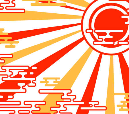 Japanese abstract red clouds and the sun. Oriental landscape. Isolated on a white background. Flat vector illustration.