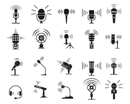 Microphone silhouette icon set. Equipment for podcasts, concerts, and speakers. Simple design for websites and mobile apps. Vector illustration isolated on a white background.