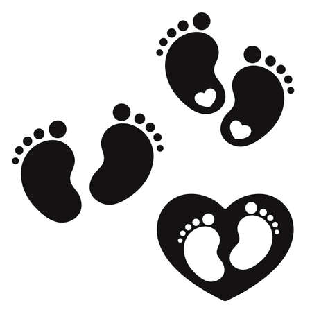 Baby feet silhouette. Footprint inside of black heart. Footstep with a heart. Vector illustration.