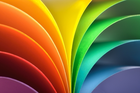 print media: Abstract rainbow background with colored paper