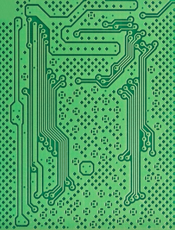 computer part: Close up of a green circuit board