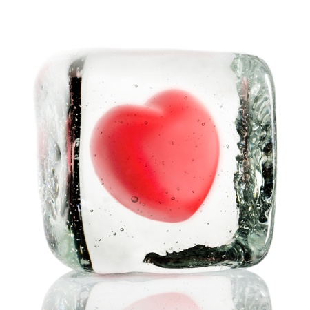 Frozen heart in a block of ice