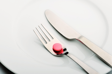 Medicine in plate with fork and knife photo