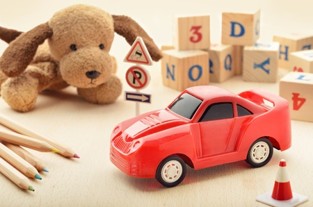 stuffed animals: Play time setup with children toys Stock Photo