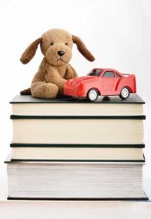 stuffed toy: Stuffed puppy and toy car on top of books Stock Photo