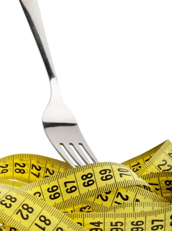 symetric: Fork in measuring tape Stock Photo