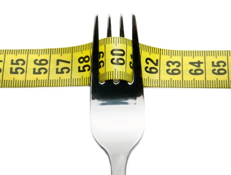 symetric: Close-up of fork with measuring tape