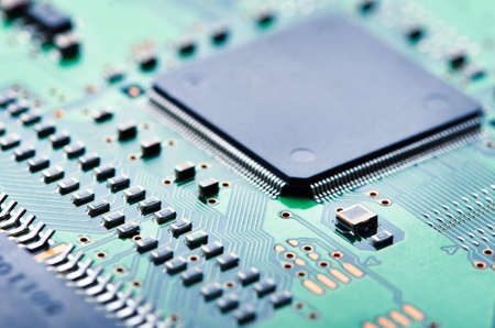 computer transistors: Close up of electronic circuit board