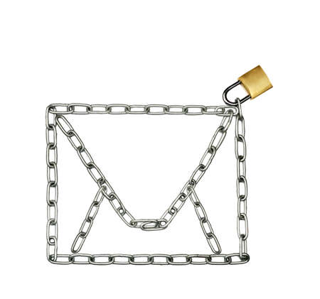 theft prevention: Chain in the shape of an envelope or a purse locked with a padlock Stock Photo