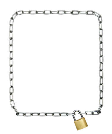 margin of safety: Chain in the shape of rectangular frame locked with a padlock