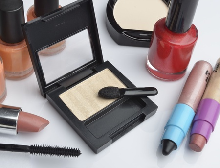 Make-up cosmetics on white background Stock Photo - 20926032