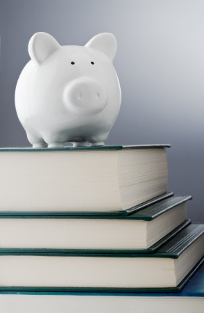 college fund savings: Piggy bank over a stack of books
