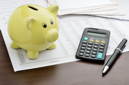 budget crisis: Piggy bank with calculator and business reports