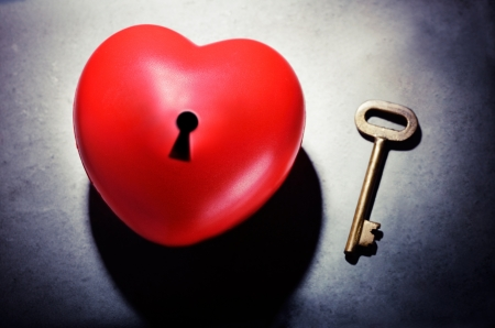 unlocking: Key to the heart as a symbol of love