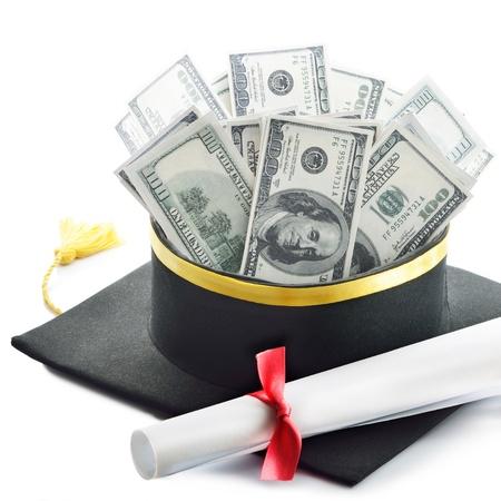 Graduation diploma on background of US dollar bills
