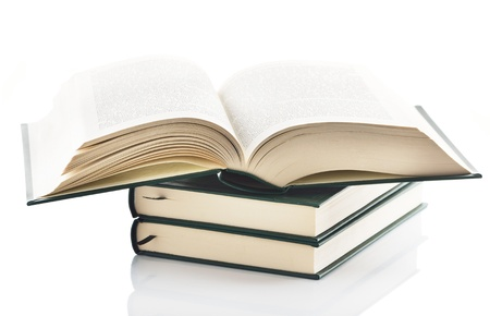 alumni: Stack of books isolated on white background