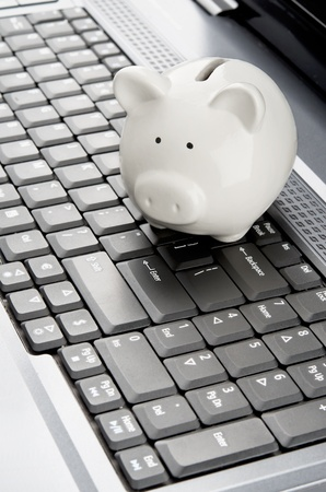 internet banking: Piggy bank over a laptop keyboard as a symbol of technology and information cost or internet banking