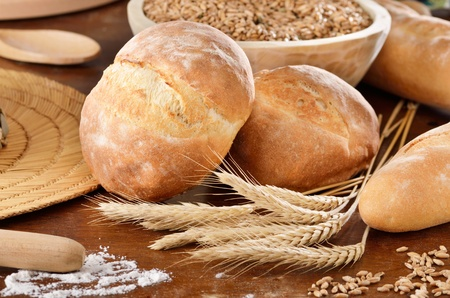 Rural scene with homemade bread photo