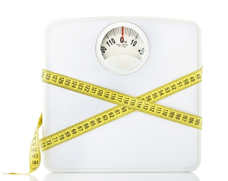 Weighting scales with a measuring tape photo