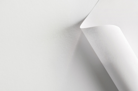 rolled up: White paper, partially rolled up, close-up