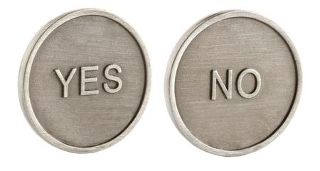 m�nzenwerfen: Zwei Gesichter einer M�nze: Ja und nein