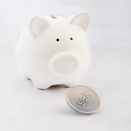 Piggy bank looking to a flipping coin
