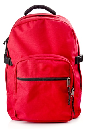 back up: Red backpack standing isolated on white background