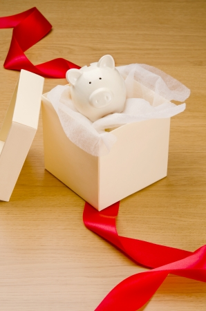 unwrapped: Piggy bank in gift box