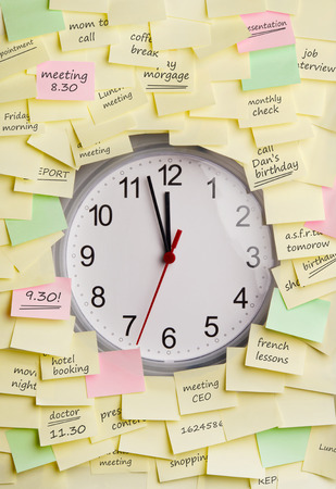excess: Clock surrounded by sticky notes