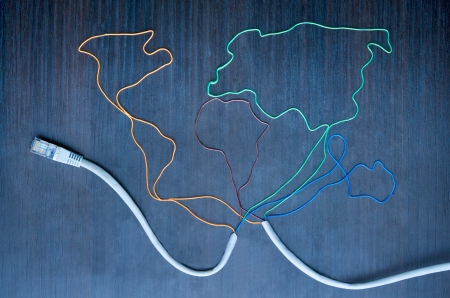 Global communication map made of internet cables photo