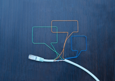fiber cable: Social networking. Speaking bubbles made of  cable Stock Photo